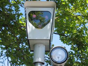 A red-light camera in use in
