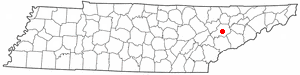 Location of Knoxville, Tennessee