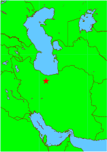 Map of Iran and surrounding lands, showing location of Tehran