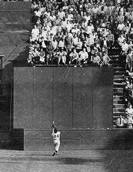 The Catch: Willie Mays hauls in Vic Wertz's drive at the warning track in the 1954