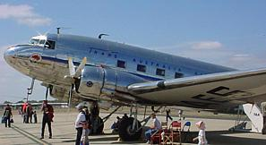 Douglas DC-3 VH-AES at Avalon in . On  , VH-AES made the first scheduled flight for , from  to .