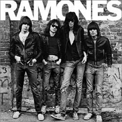 The Ramones (L-R, , , , ) on the cover of their debut  (1976), cementing their place at the dawn of the  movement.