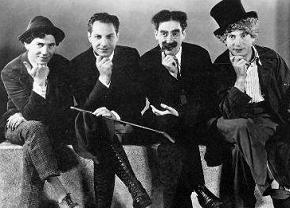The brothers in Hollywood: (left to right) Chico, Zeppo, Groucho, Harpo