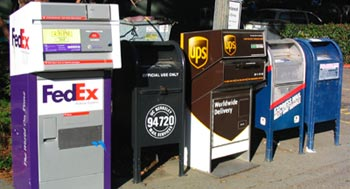 In the , private companies such as  and  compete with the , particularly in . Different mailboxes are also provided for local and express service.