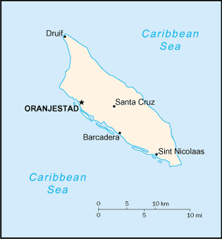 Map of Aruba with cities