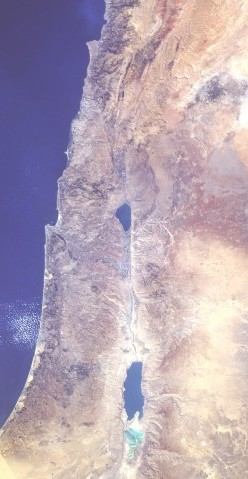 The Jordan River flowing into the Dead Sea