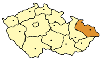 Map of the Czech Republic highlighting the Moravian-Silesian Region