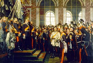 Proclamation of the German Empire in Versailles. Bismarck in white in the centre of the image