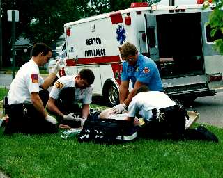 Photo of EMS treating a cardiac arrest patient.