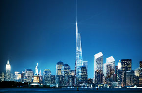 Artist's depiction of the proposed Freedom Tower amidst the New York skyline at night.