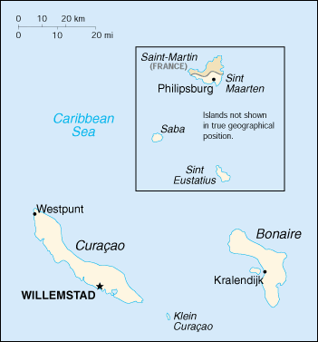 Map showing location of Sint Eustatius relative to  and Sint Maarten/