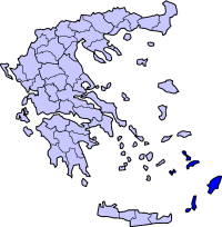 Map showing Dodecanese within Greece