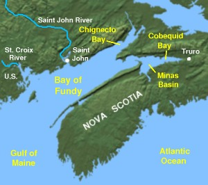 Geography around the Bay of Fundy