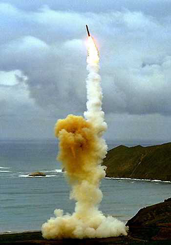A  missile soars after a test launch.