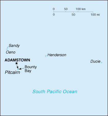 Map of Pitcairn Islands. Source: