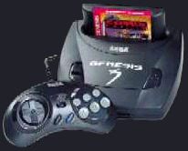 Majesco's Genesis 3 with a 6 button arcade gamepad and Comix Zone in the cartridge slot