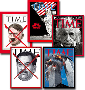 (Clockwise from upper left) Notable Time magazine covers  from May 7, 1945; July 25, 1969; December 31, 1999; September 14, 2001; and April 21, 2003. Note that on the September 14, 2001 edition, the usual red border was colored black due to the Sept. 11 attacks