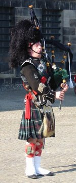 A bagpipe performer in .
