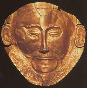 'Mask of Agamemnon' from Mycenae, Greece. Discovered by Heinrich Schliemann in 1876 at Mycenae; since proven not to depict Agamemnon.
