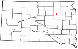 Location of Ashton, South Dakota