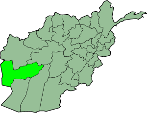 Map showing Farah province in Afghanistan