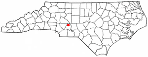 Location of New London, North Carolina