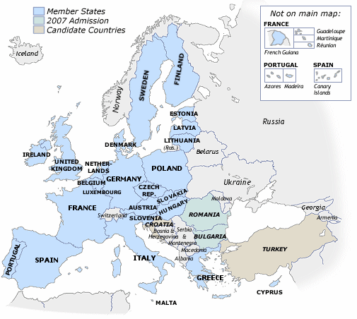 Map of EU member states, 2007 admissions and candidate countries