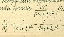 A piece of the original document detailing the Rydberg formula in 1888.