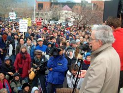 Noam Chomsky at a peace rally in , in 2003.