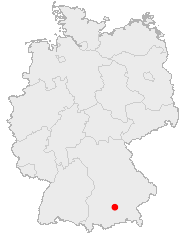 Map of Germany showing Munich