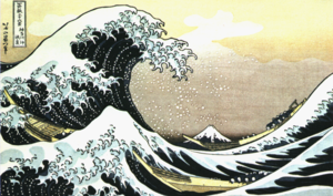 There is a common misconception that tsunamis behave like wind-driven waves or swells (with air behind them, as in this celebrated 19th century  by ). In fact, a tsunami is better understood as a new and suddenly higher sea level, which manifests as a shelf or shelves of water. The leading edge of a tsunami superficially resembles a breaking wave but behaves differently: the rapid rise in sea level, combined with the weight and pressure of the ocean behind it, has far greater force.