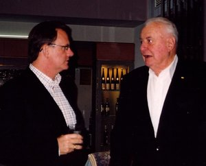 Gough Whitlam (right) at 88, with his protege, the former leader of the Australian Labor Party, , at an election fundraising event in Melbourne, September 2004