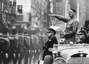 Adolf Hitler and  (below Hitler's arm)