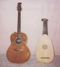 Guitar and lute posed side-by-side