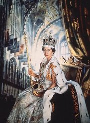 Queen Elizabeth wearing the Imperial State Crown and holding the Sceptre with the Cross and the Orb
