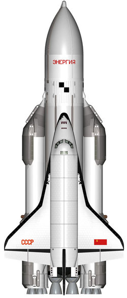 Illustration of the Buran Shuttle on an Energiya booster rocket