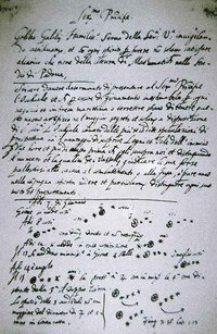 It was on this page that Galileo first noted an observation of the  of . Galileo published a full description in  in March .