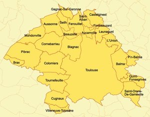 Map of the Community of Agglomeration of Greater Toulouse
