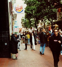 Burger King in San Francisco with vegan protesters