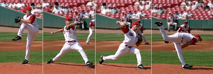 The typical motion of a pitcher