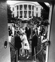 Nixon leaving the White House after his resignation, August 9, 1974