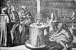 An Alchemical Laboratory, from The Story of Alchemy and the Beginnings of Chemistry
