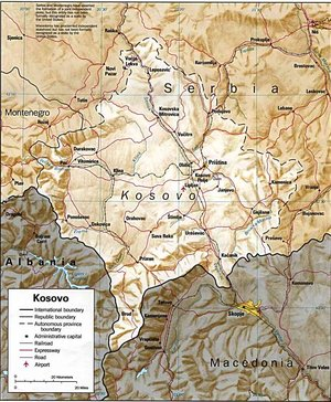 Physical map of Kosovo