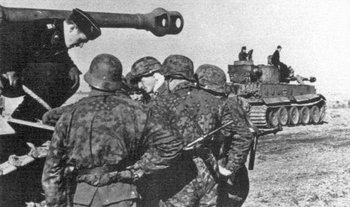 Waffen-SS Panzergrenadiers of the SS Panzergrenadier Division Totenkopf during the start of operation Zitadelle