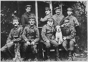 Hitler (seated, far left) during World War I.
