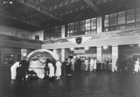 Pan Am's seaplane terminal at  in  was a hub of inter-American travel during the 1930s and 1940s.