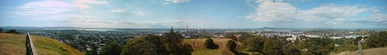 Panoramic view over Auckland from Mount Eden