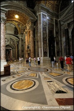 The Second Vatican Council convened in the Basilica of Saint Peter. The high canopy or baldocchino was designed by Bernini.