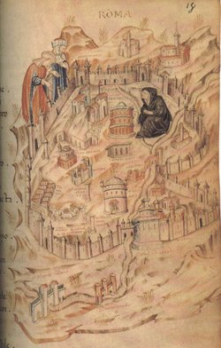 A medieval map of Rome from a manuscript of the period (Paris, Bibliothèque Nationale, MS Ital. 81, folio 18).  The illustration shows Rome personified as widow grieving the loss of the papacy.