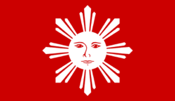 This is the first official flag intended to represent the country. It was created by the Katipunan at Naic, Cavite in 1897.